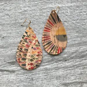 Large Teardrop Handmade Cork-Style Earrings